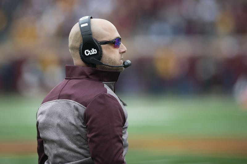 Head coach P.J. Fleck observes the game at TCF Bank Stadium on Saturday, Nov. 9. The Gophers defeated Penn State 31-26 to bring their record to 9-0. A first since 1904.