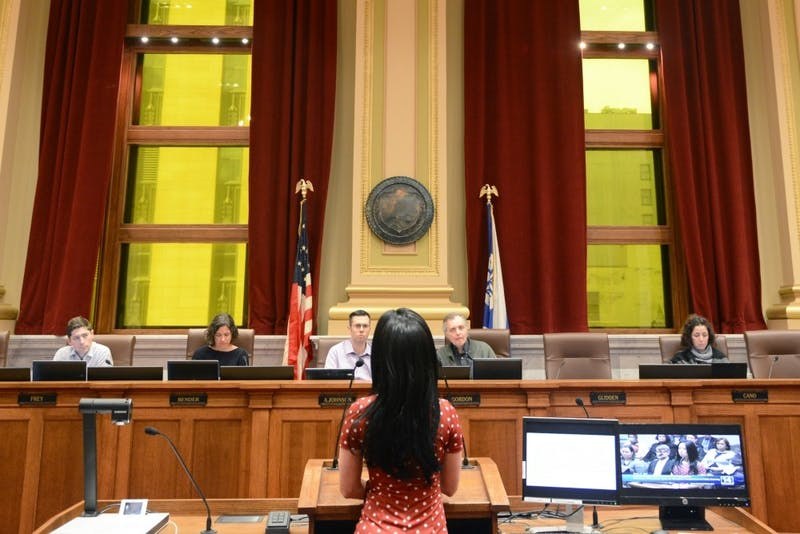 Minneapolis City Council members listen to Tawnya Konobeck, an entertainer, talk about her experiences working in the Minneapolis strip club scene on Monday, Mar. 27, 2017. After hearing the report on the workplace conditions for erotic dancers, the council said it wants to begin regulating strip clubs.