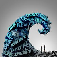 Debt pressure financial concept as a huge wave or tide made of 3D illustration text as a finance and economic crisis metaphor for money problem risk and budget management trouble.