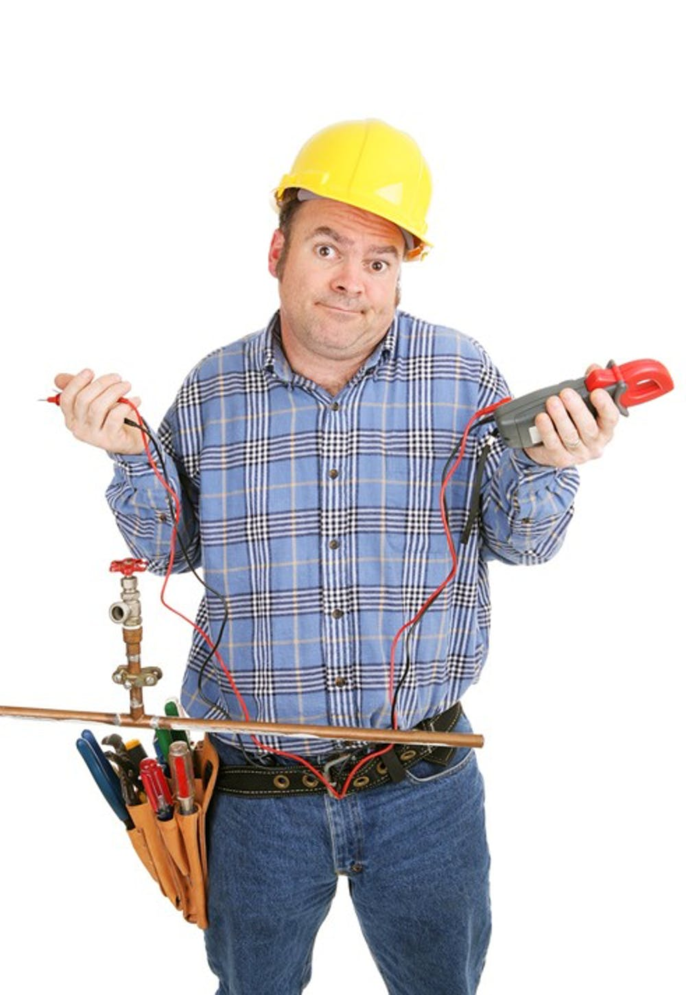 Electrician confused by a plumbing project.  He's holding a voltage meter which is useless on a plumbing pipe.  Isolated on white.