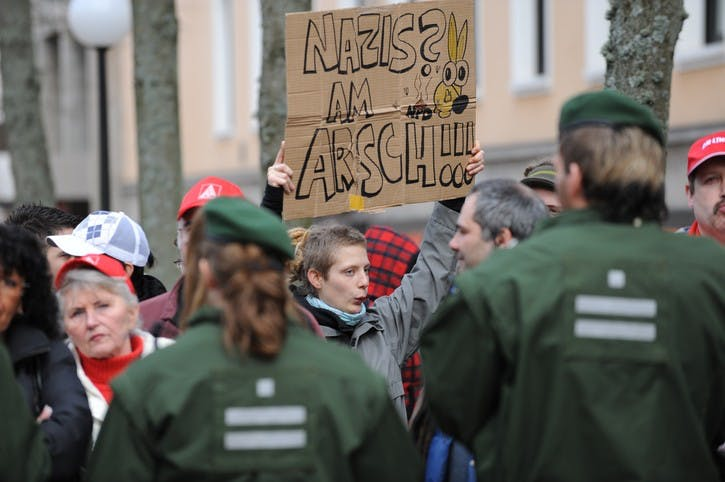 Zweibruecken, Germany - March 20, 2009: Protests against Neo Nazis and right wing extremists