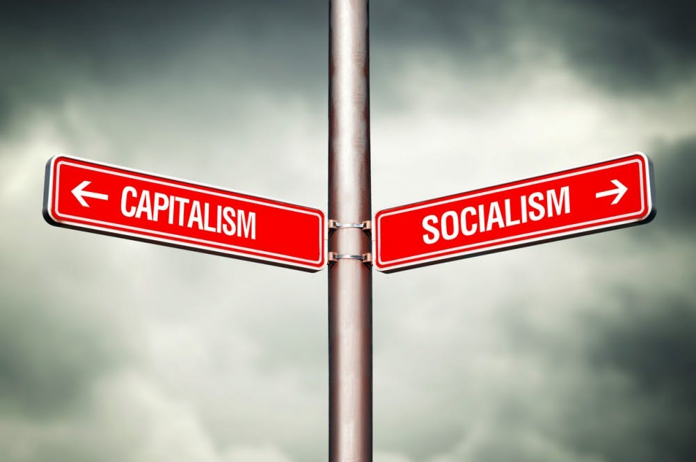 Capitalism or Socialism concept. Street sign pointing to opposite direction. Choose between.