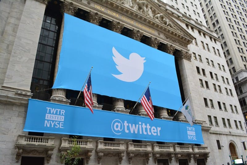 New York City, USA - November, 7 2013: Banner on the New York Stock Exchange marking Twitters IPO in Lower Manhattan on November 7, 2013.