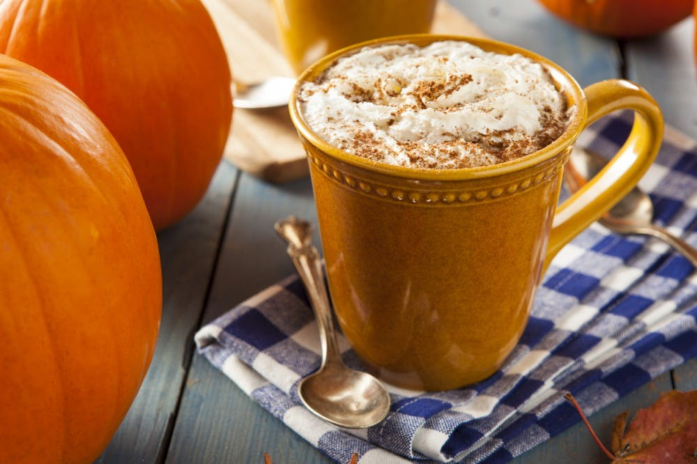 Autumn Pumpkin Spice Latte with Milk and Cream