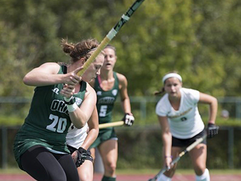 Ohio University senior Adele Sammons prepares to hit the ball during the game against Appalachian State on September 13, 2015. OU won 4-0. (EMILY MATTHEWS   FILE)