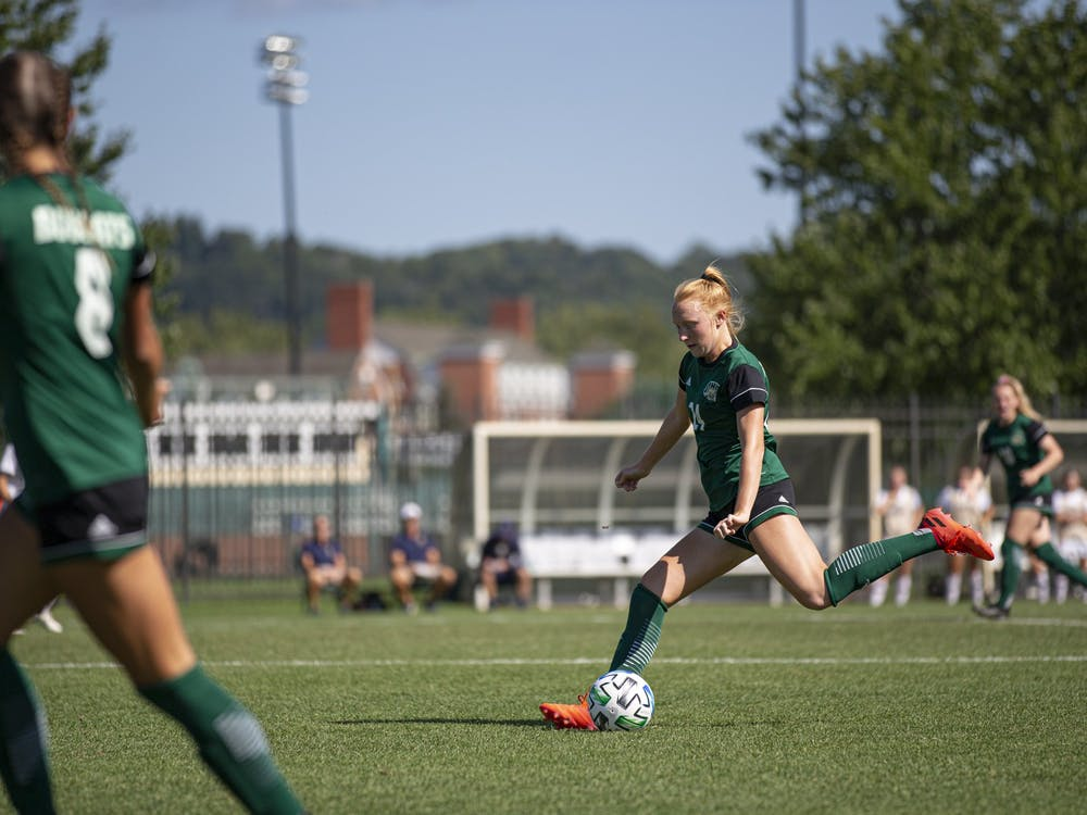 Ohio University sophomore Carsyn Prigge (14) drives to the goal during the first half of the 1-0 Bobcat victory over the Naval Academy at Chessa Field on Thursday, Sept. 2, 2021. (Jesse Jarrold-Grapes   For The Post)