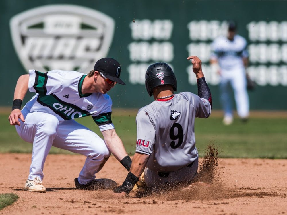 Ohio second baseman Aaron Levy tags Northern Illinois' Samuel Vega during a doubleheader on March 31, 2018. (FILE)