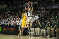 Ohio's James Gollon shoots a 3-pointer against Kent State on Tuesday in The Convo.