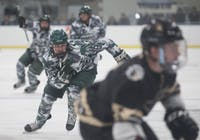 Ohio's Gabe Lampron pursues a Lindenwood player with the puck during the two teams' game on November 17, 2017. (FILE)