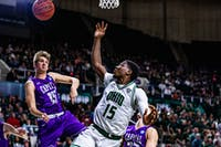 Ohio G Lunden McDay (15) rebounds the ball after a shot made in the first game of the season held at the Convocation Center on Saturday, Nov. 2, 2019.