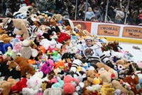 The Hershey Bears collected over 34,000 teddy bears for charity. Photo provided by @TheHersheyBears on Twitter.