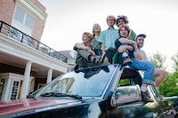 (Left to right) Shea Benezra, Cora Fitch, Sam Debatin, Mitch Spring, Harper Reese and Liam McSteen, all part of local Athens band Velvet Green, sit atop their pickup truck in front of Baker University Center on Thursday, Sept. 5, 2019.