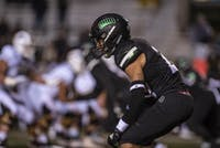Kylan Nelson awaits the snap in Ohio's 59-14 win over Western Michigan on Thursday.