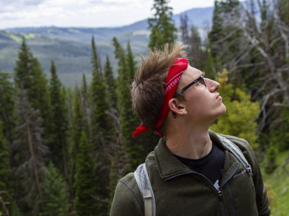 Photo illustration of a person on a hike
