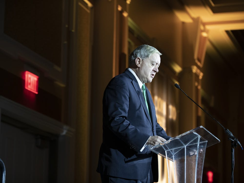 Ohio University President Duane Nellis gives a speech at the MLK day brunch ceremony on Jan. 20, 2020. (FILE)