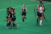 The Bobcats celebrate after scoring a late goal to extend their lead against Central Michigan to 3-1 on Sept. 23