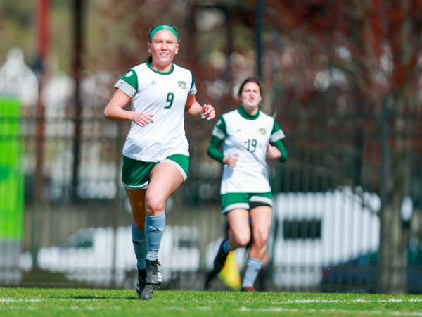 Ohio's Heather McGuire (left) and Konstantina Giannou (right) make their way up Chessa Field during Ohio's 3-0 loss to Bowling Green on March 28. (Photo by Mijana Mazur -Ohio Athletics)