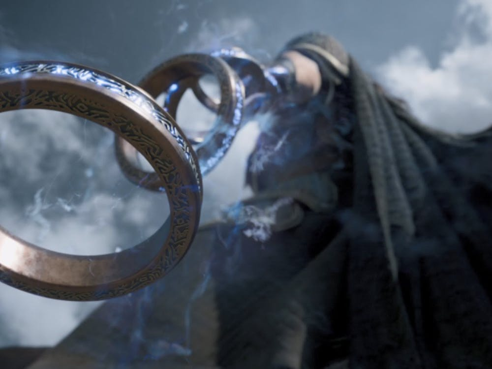 The villainous Mandarin (Tony Leung) and his powerful rings in 'Shang Chi and the Legend of the Ten Rings', now playing in theaters. (Photo provided by @wintersloki via Twitter).