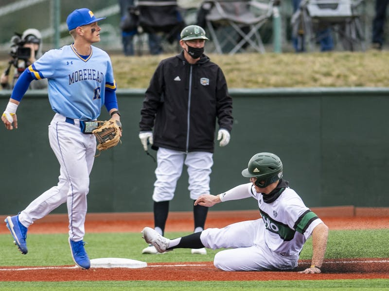 Ohio's Jack Liberatore slides into third base during the Ohio versus Morehead State match on Friday, Feb. 26, 2021. Ohio won 6-0.