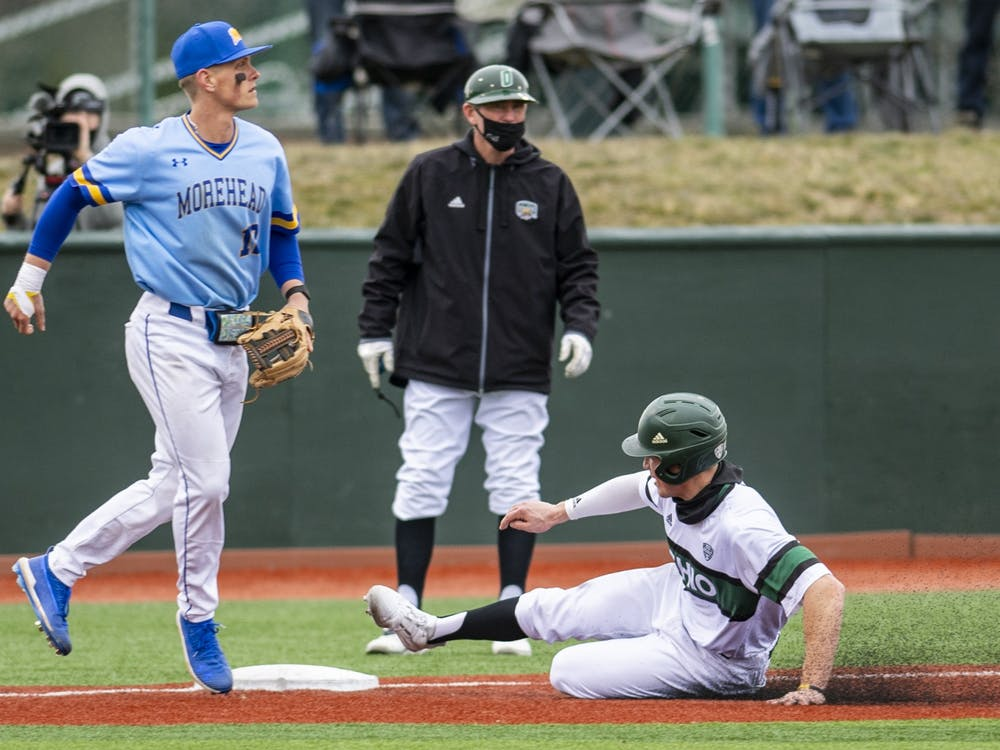 Ohio's Jack Liberatore slides into third base during the Ohio versus Morehead State match on Friday, Feb. 26, 2021. Ohio won 6-0.