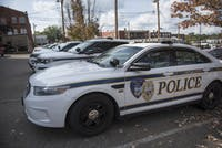 Police cars parked outside the Athens Police Department on Sept. 18, 2017. (FILE)