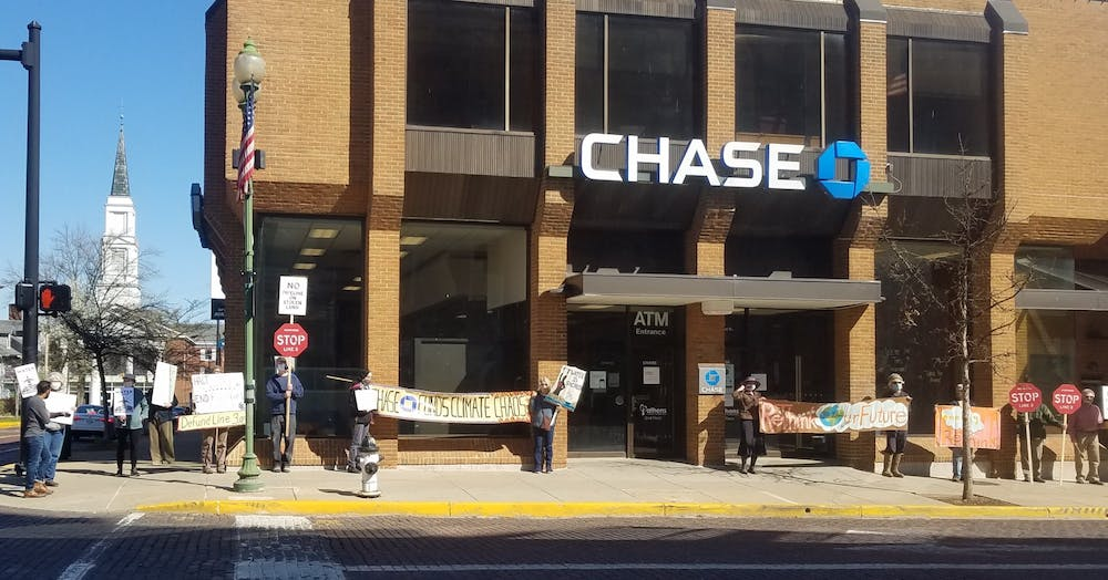 Local organizations protest outside Chase Bank for involvement with Minnesota Line 3 pipeline