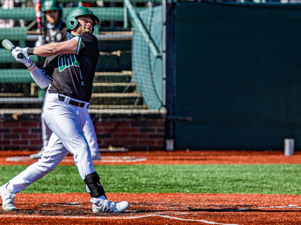 Ohio's Isaiah Peterson (#5) swings against Milwaukee in the eighth inning of the last game ending with a winning score of 3-2 on Sunday, March 7, 2021.