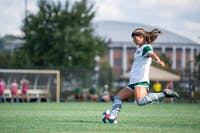 Ohio's Alivia Milesky kicks the ball during the game against Cleveland State on Friday, August 30, 2019, at Chessa Field. The Bobcats won the match 2-1.