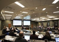 Members of Faculty Senate meet on February 5.
