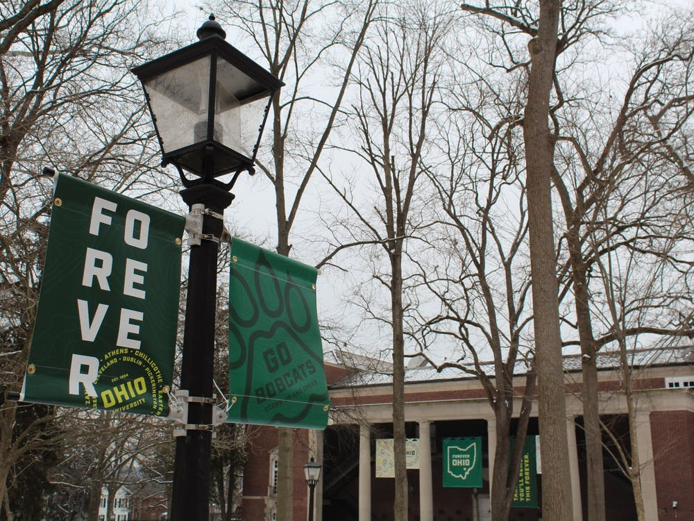 Signs for the branding campaign that Ohio University came up with: Forever Ohio.