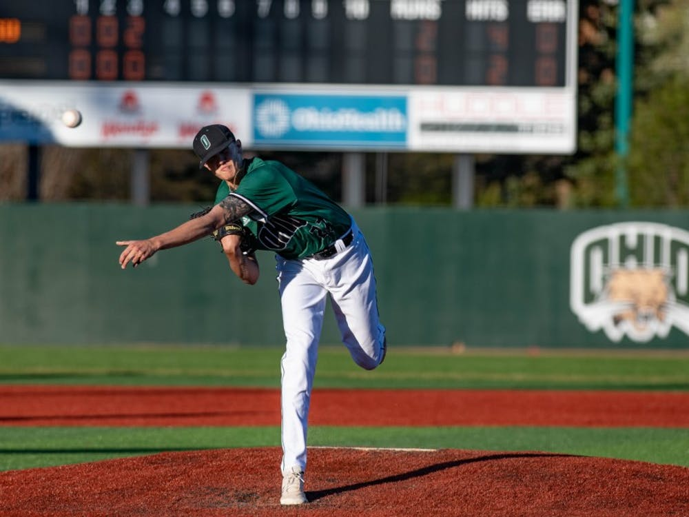 Ohio's Joe Rock (#22) pitches during the Bobcats' game against Ohio State on Tuesday, April 9, 2019. The Bobcats lost 10-8 to the Buckeyes. (Correction: A previous version of this photo caption misidentified Rock.)