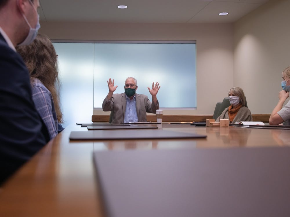 Scripps College of Communication Dean Scott Titsworth speaks with the executive editors of The Post and assistant news editor Molly Wilson regarding the future of student media at Ohio University on Friday, Sept. 17, 2021.
