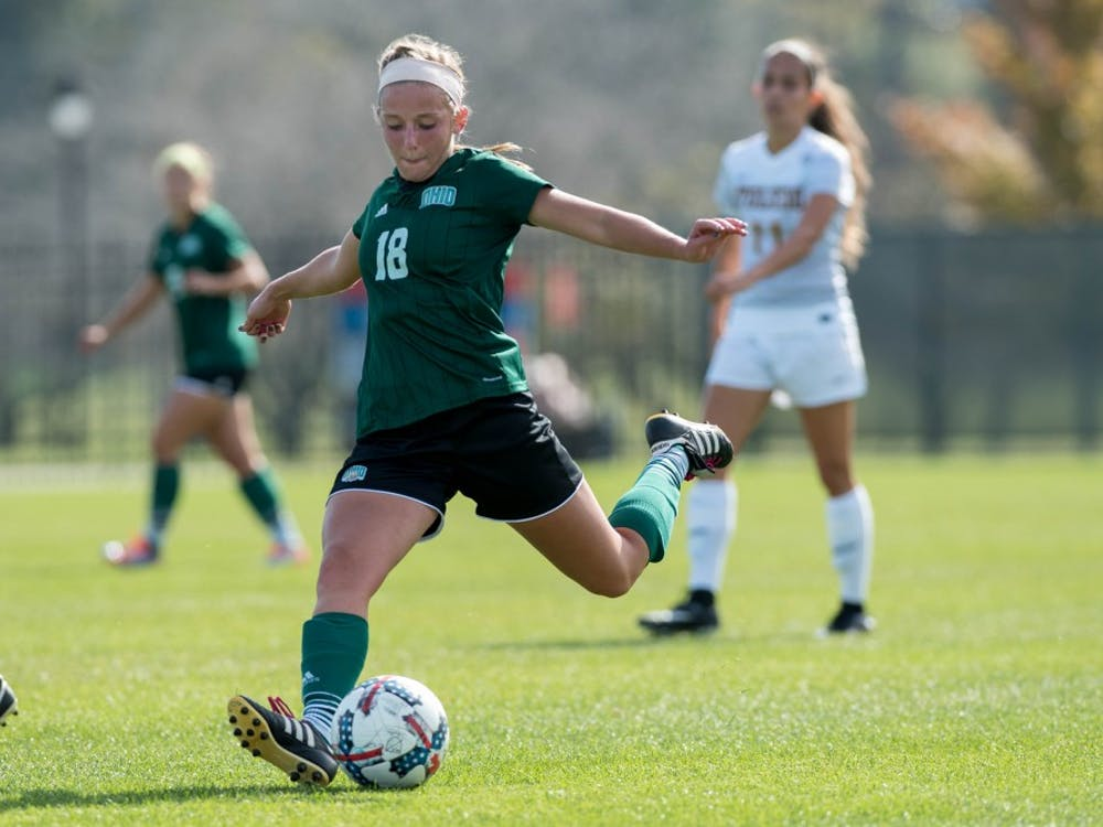 Sydney Leckie takes a shot during the game against Toledo on October 22, 2017. The Bobcats lost 2-1. (Abigail Dean | For The Post)