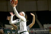 Ohio forward Kendall Jessing attempts a layup during the game against Coppin State on Saturday.