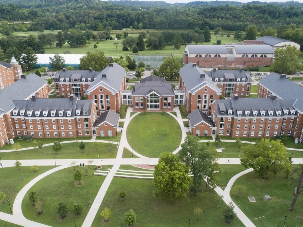 "An arial view of ""New South"" : Tanaka, Sowle, Luchs and Carr residence halls."
