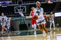 Ohio guard Caitlyn Kroll (no. 5) runs across court to help the Bobcats with their 81 - 69 victory against American University in the Convo on Sunday, Nov. 10, 2019.