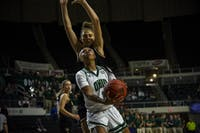 Ohio University guard, CeCe Hooks (#1), goes for a layup during the game against Walsh University on Saturday, Nov. 2, 2019.
