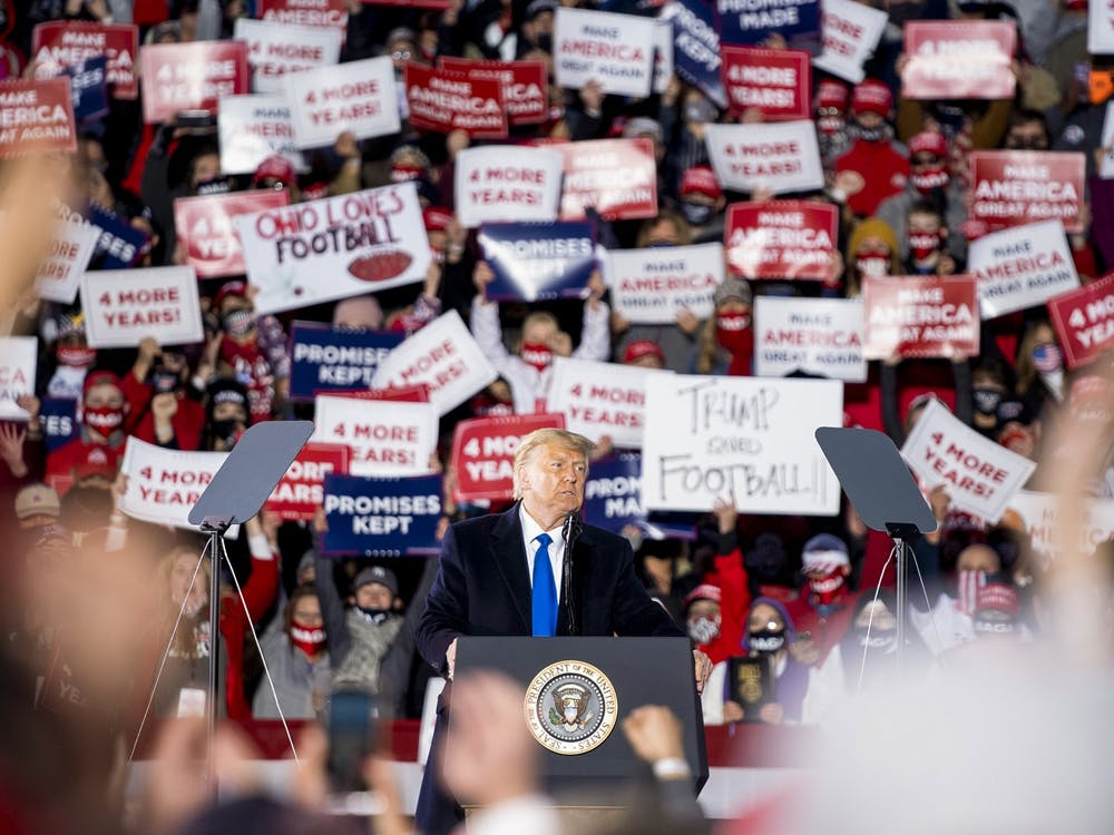 President Donald J. Trump speaks at his Make America Great Again Rally in Circleville, Ohio, on Saturday, Oct. 24, 2020.