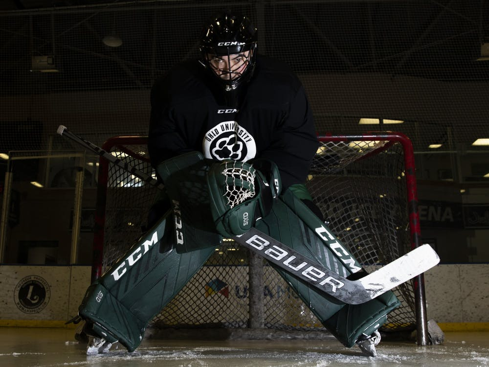 Ohio goalie Max Karlenzig (#30) stands ready in complete uniform at Bird Arena on Monday, Feb. 15, 2021.