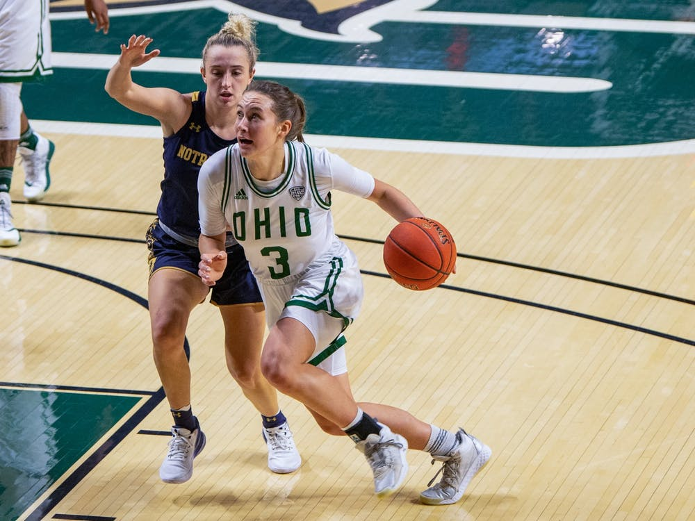 Ohio's Madi Mace (#3) dribbles the ball past Notre Dame's Dara Mabrey (#1) during the match in The Convo on Friday, Nov. 27, 2020. Ohio won 86-85. (FILE)