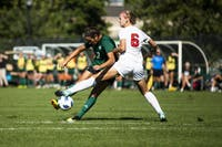 Bobcat midfielder Sarina Dirrig attempts a shot on goal in the closing stages against Ball State. (FILE)