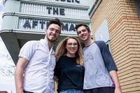 (Left to right) Jason Grafe, Sammy Miller and Brandon Tasker pose in front of the Athena Cinema on Court St. in uptown Athens, OH on Thursday, April 18, 2019.