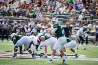 Ohio quarterback Quinton Maxwell calls out plays during the Bobcats' game against Howard on Sept. 1. (FILE)