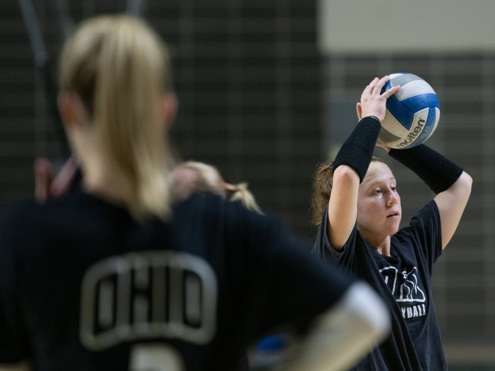 Ohio's Meredith Howe prepares to throw the ball during the volleyball practice on Tuesday, September 17, 2019, in The Convo.
