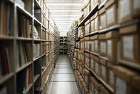 Shelves of University archives are stored on the 5th floor of Alden Library.