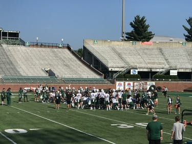 The Bobcats prepare for the upcoming season at the first practice of fall camp.