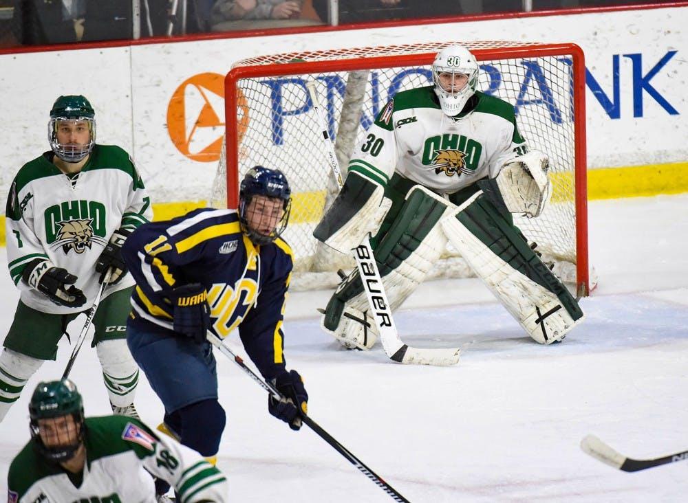 Hockey: Thomas ties Ohio record in single-season shutouts in 12-0 win over Oakland
