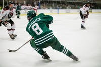 Ohio's Kyle Craddick defends the puck during the match against Davenport on Saturday, Nov. 3.