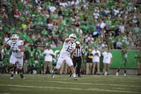 Ohio University quarterback, Nathan Rourke (#12) throws the ball during the Battle for the Bell against Marshall University on Saturday, Sept. 14, 2019.