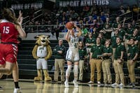 Ohio University's Gabby Burris (#41) sits wide open on the three point line against Western Kentucky during the home game on Thursday, March 28, 2019.